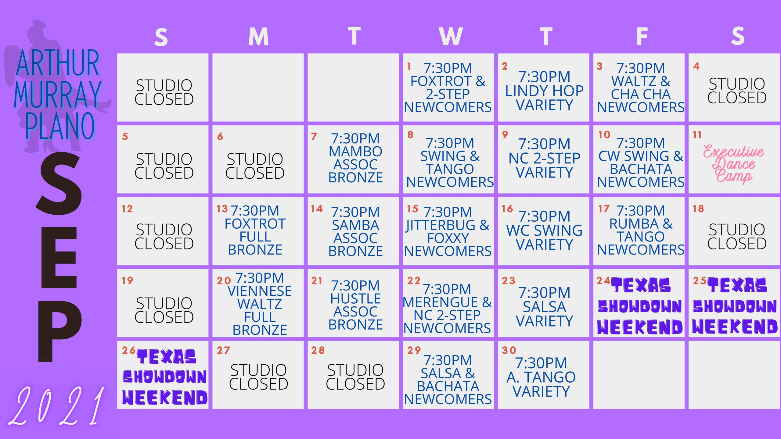 Dance Studio Plano Sept Calendar